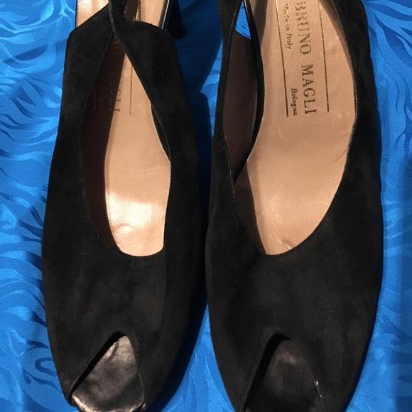 7fb89d50090a4 Black suede peep toe sling back pumps